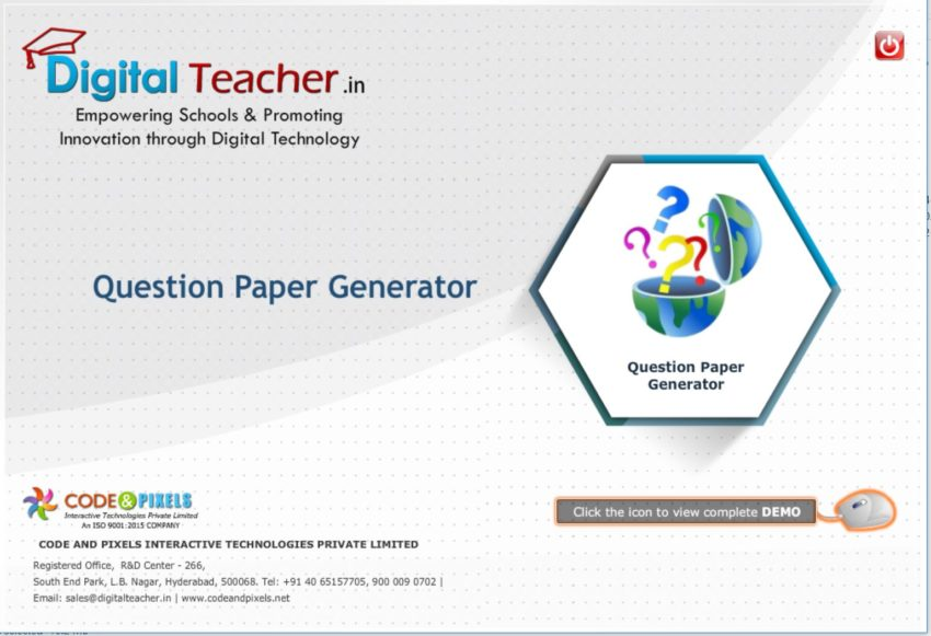 Digital teacher question paper generator tool for smart class