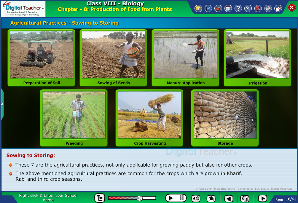 Digital teacher smart class different stages of agriculture