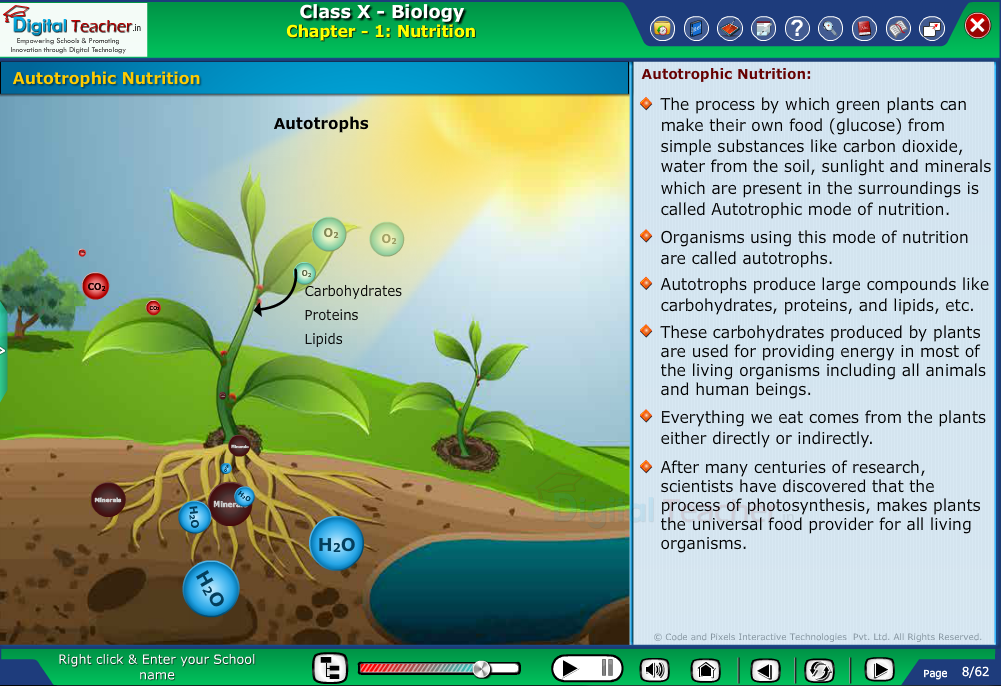 Digital teacher smart class explanation on autotrophic nutrition