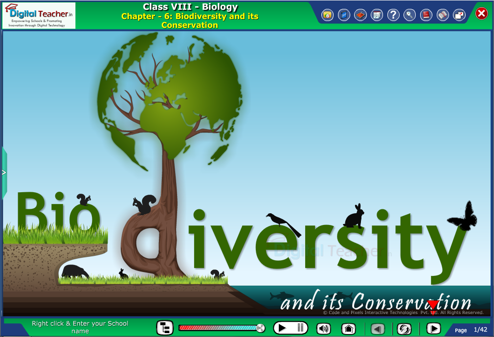 Digital teacher smart class about biodiversity and its conservation