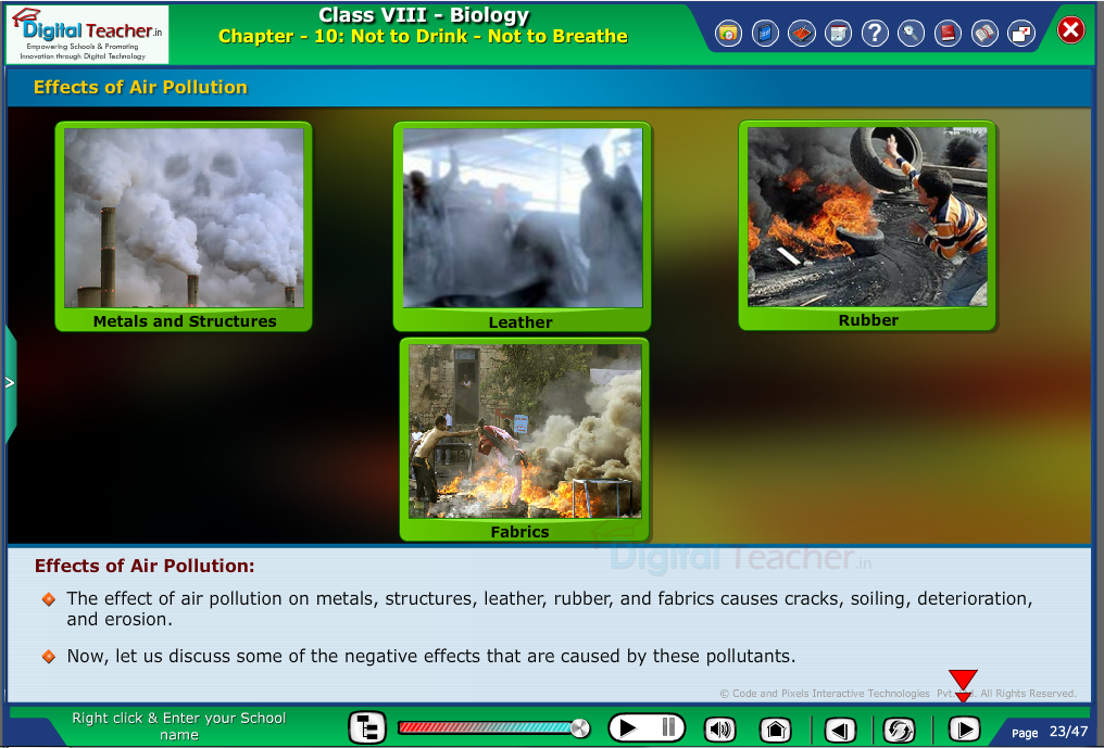 Digital teacher smart class explanation on effects of air pollution