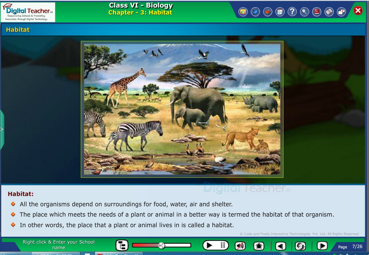 Digital teacher smart class about environment of animals and plants