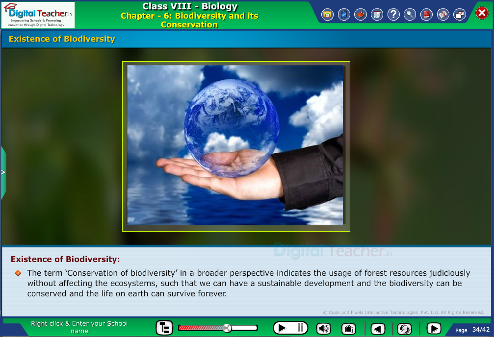 Digital teacher smart class explanation on existence of biodiversity