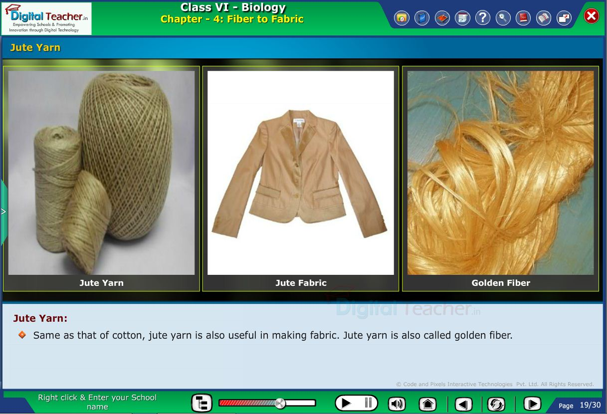 Digital teacher smart class about jute yarn