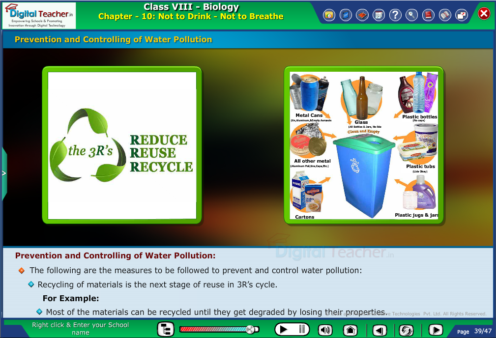 Digital teacher smart class explanation about controlling of water pollution