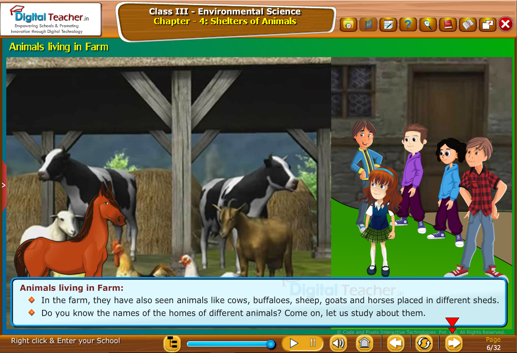 Animals living in Farm