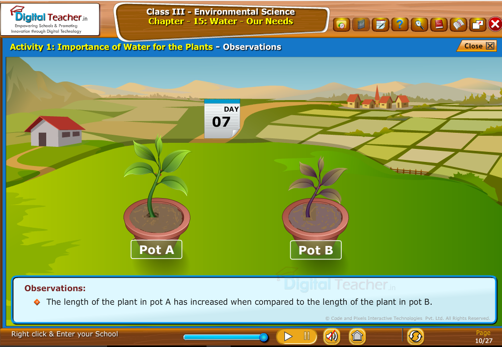 Importance of water for the plants-observations
