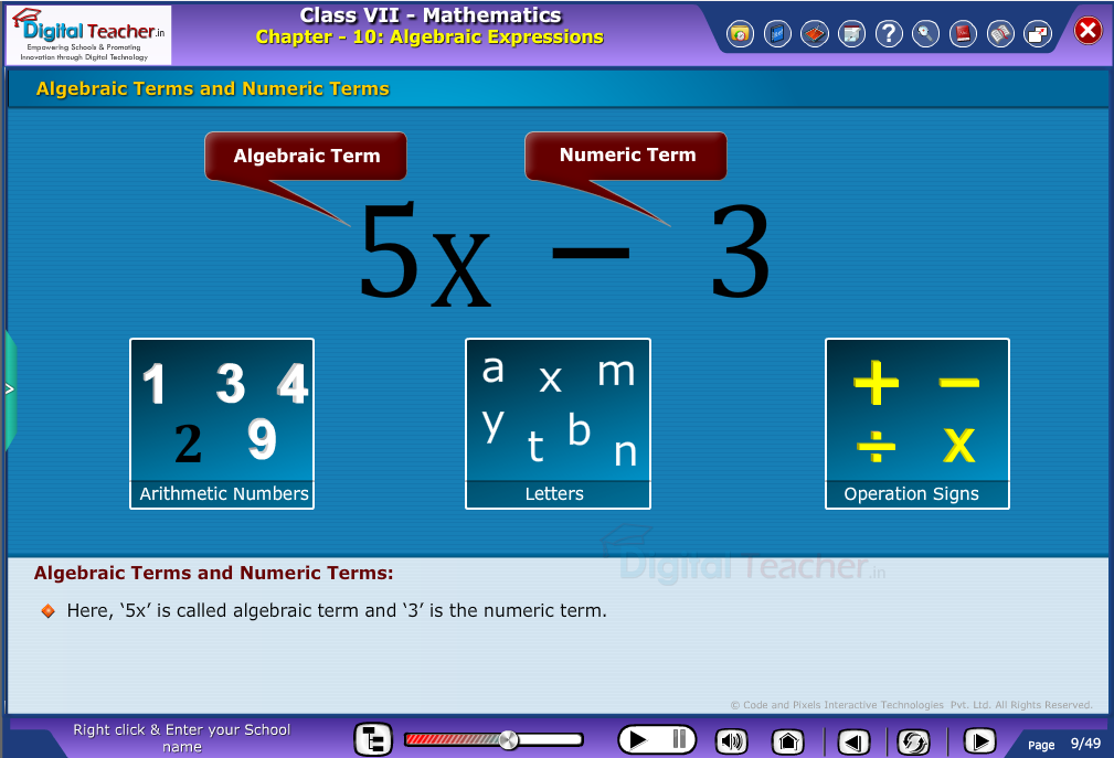 Algebraic terms and numeric terms