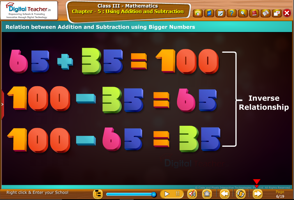 Relaton between Addition and subtraction using bigger numbers