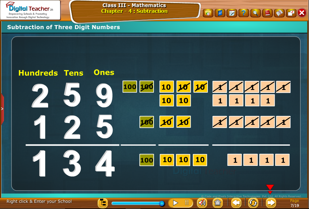 Subtraction of three digit numbers
