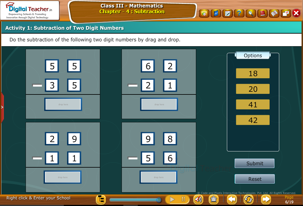 Subtraction of tw digit numbers