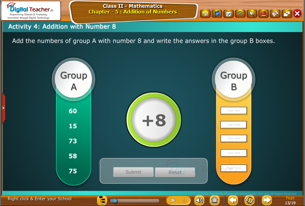 Class 1 - Mathematics : Addition with 8