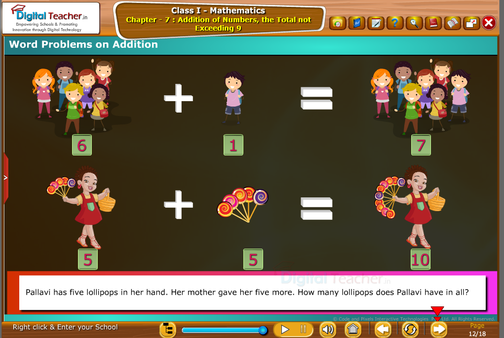 Class 1 - Mathematics : Word problems on Addition