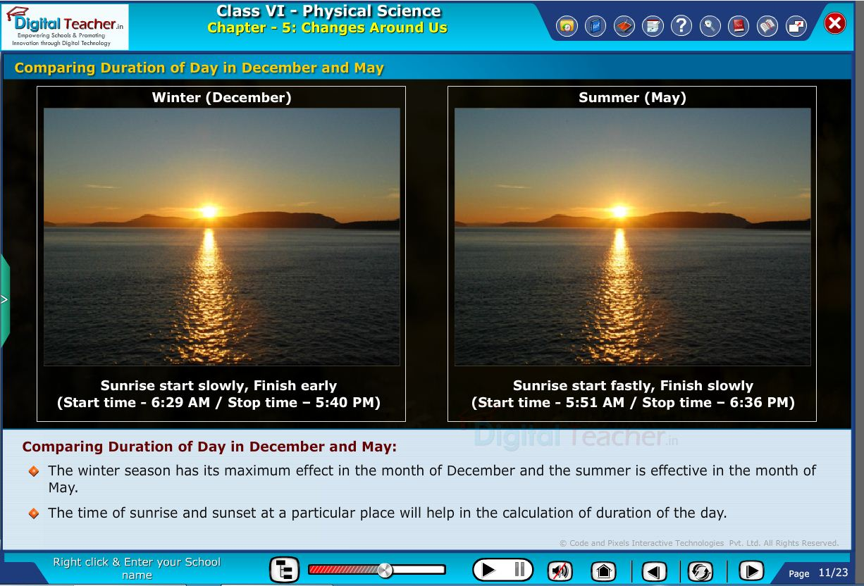 Comparing duration of day in december and may | Digital teacher smart class