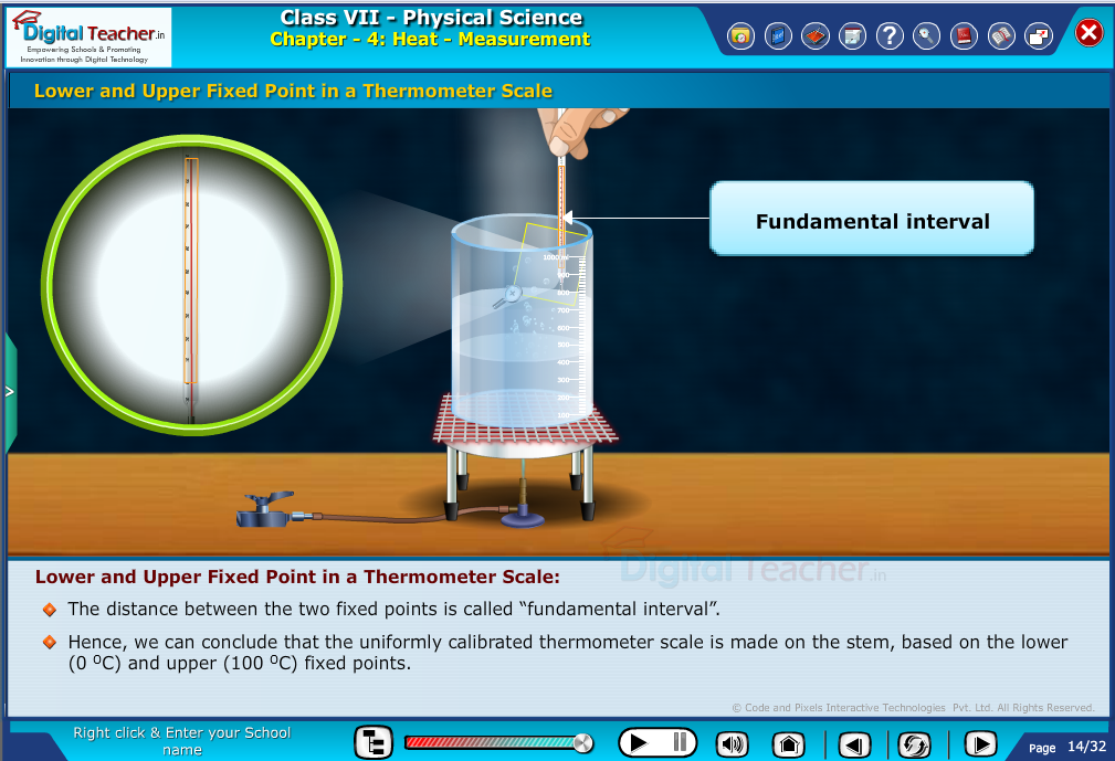 Lower and upper fixed point in a thermometer scale | Digital teacher smart class