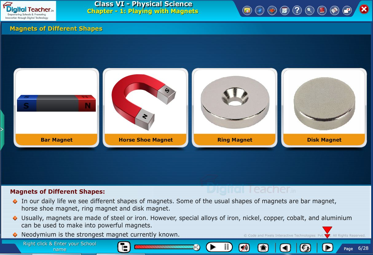 Digital teacher smart class explain about different shapes of magnets