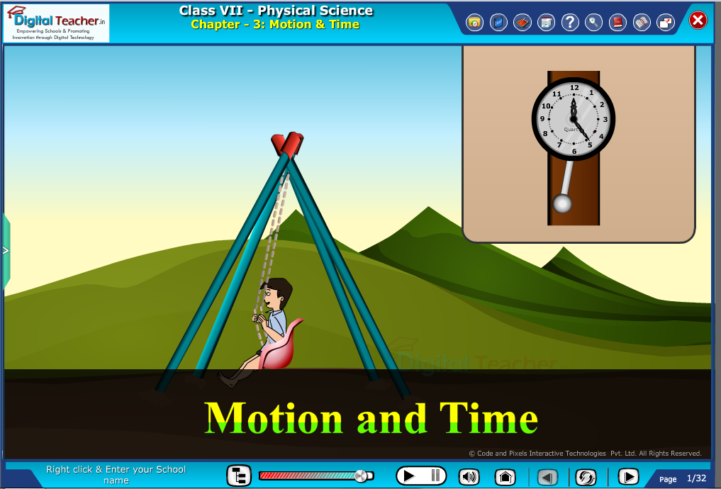 Digital teacher smart class about motion and time