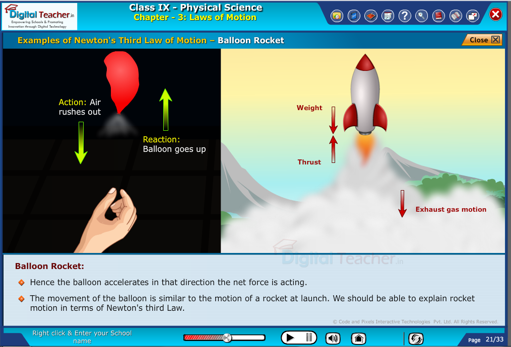 Digital teacher smart class demonstrates newton's third law of motion with balloon rocket