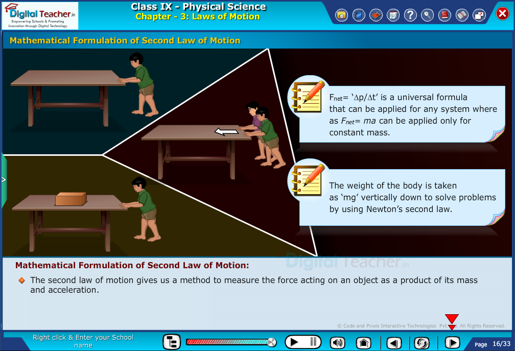 Digital teacher smart class about second law of motion