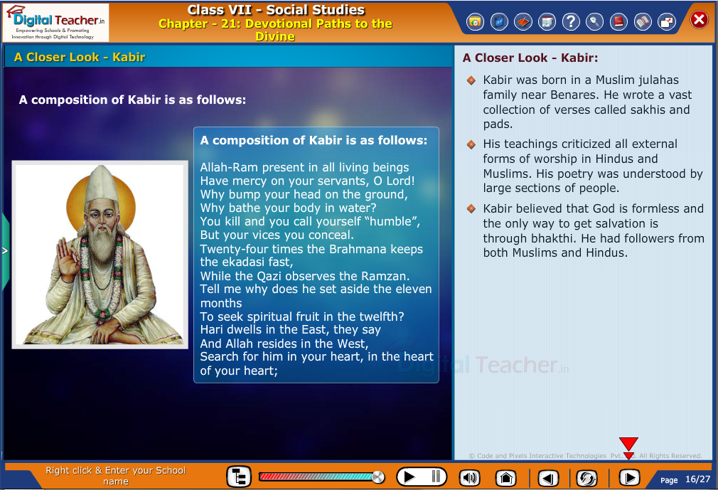 Smart class - social infographic on devotional paths to the divine and also about Kabir