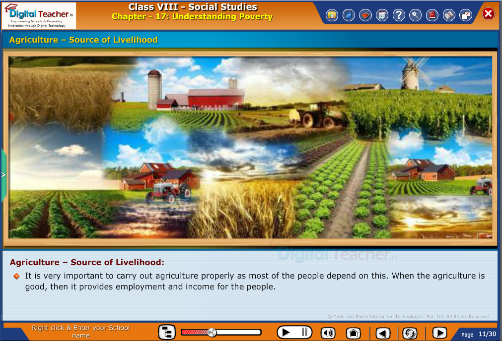 Smart class - social studies on understanding poverty and making Agriculture as source of livelihood
