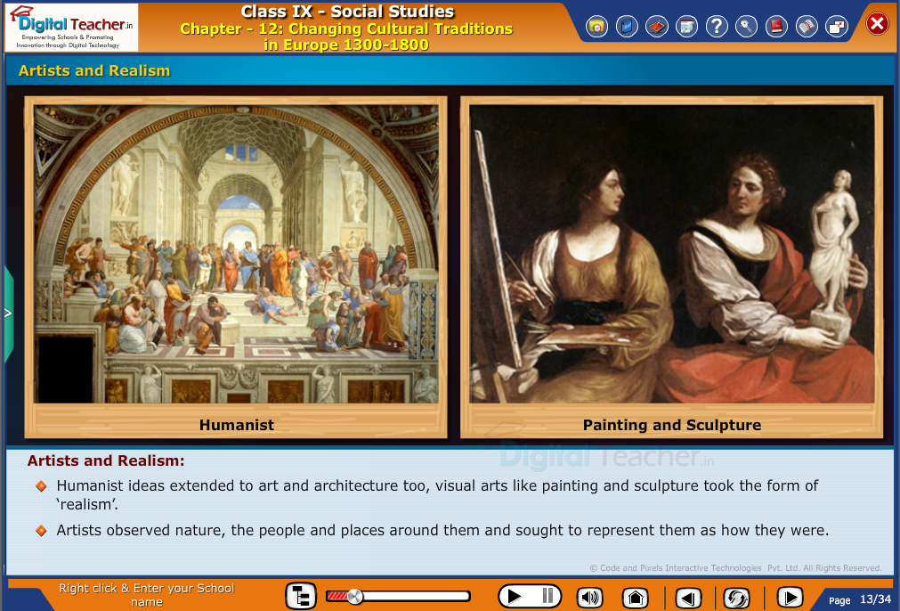 Smart class - social studies on changing cultural traditions in europe in the form of artists and realism