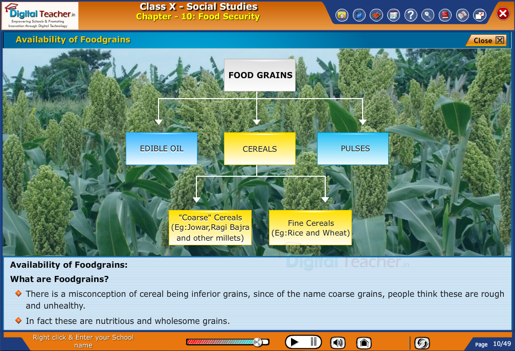 Smart class - social studies on Food Security and availability of various types of food grains