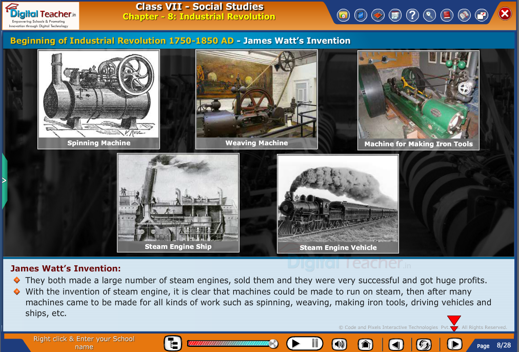 Smart class - social infographic about beginning of industrial revolution and inventions by James Watt
