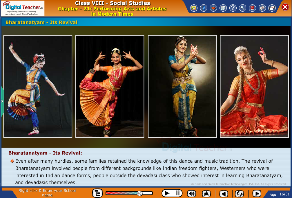 Smart class - social studies on different arts and artistes in modern time - Bharatanatyam and its revival