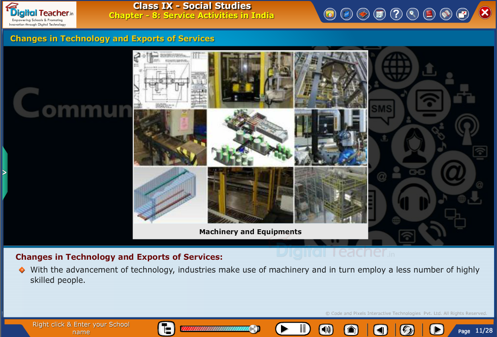Smart class - social studies on changes in technology and exports of services and uses of machinery