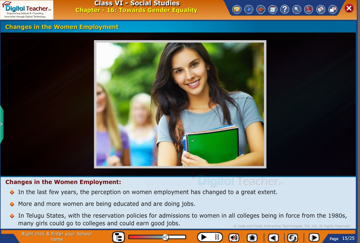 Smart class - social infographic of changes in the women employment towards gender equality