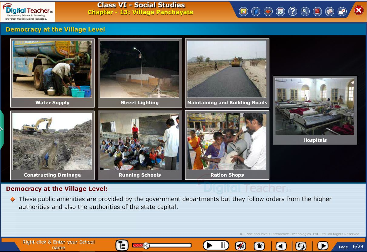 Smart class - social infographic on village panchayats and democracy at the village level