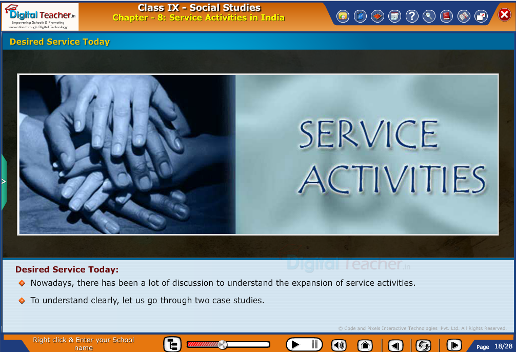 Smart class - social studies to understand expansion of desired service activities