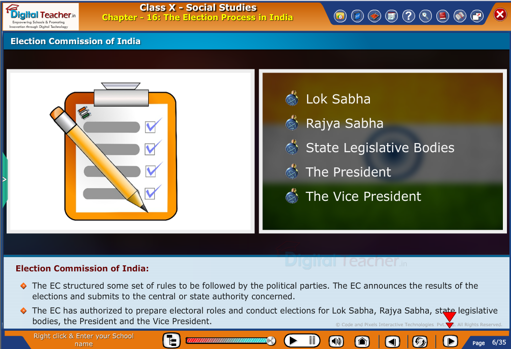 Smart class - social studies on Election process in India and rights of the election commision and their duties