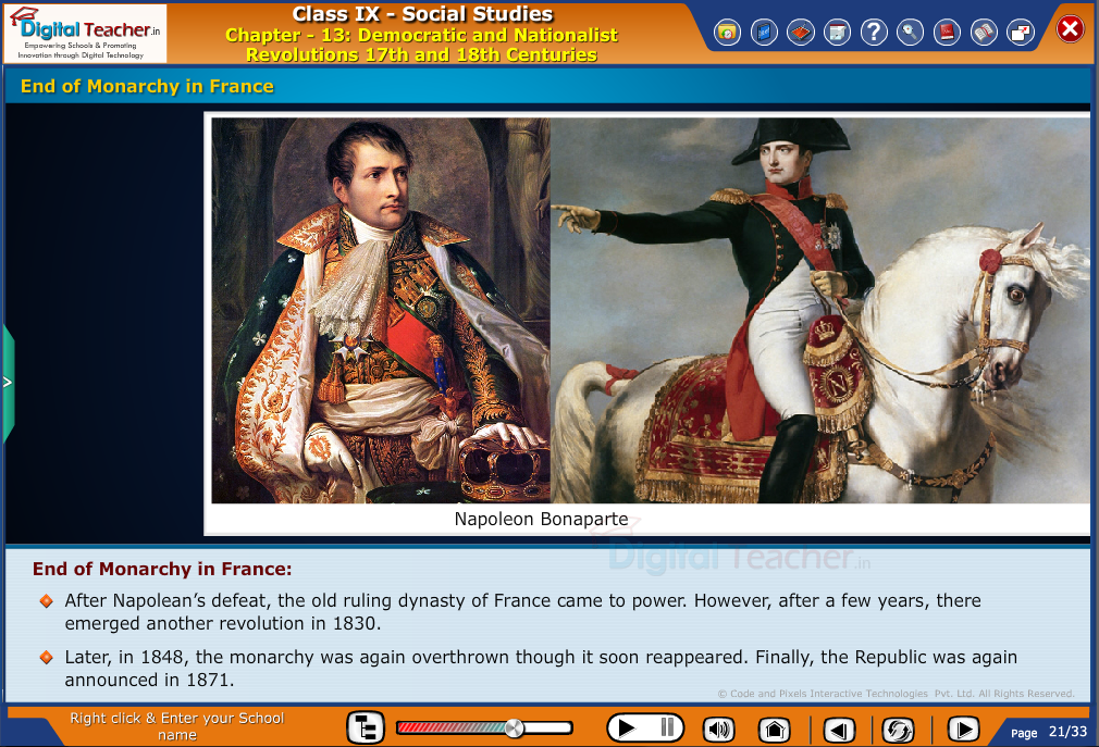 Smart class - social studies explaining end of monarchy in france and announcing republic
