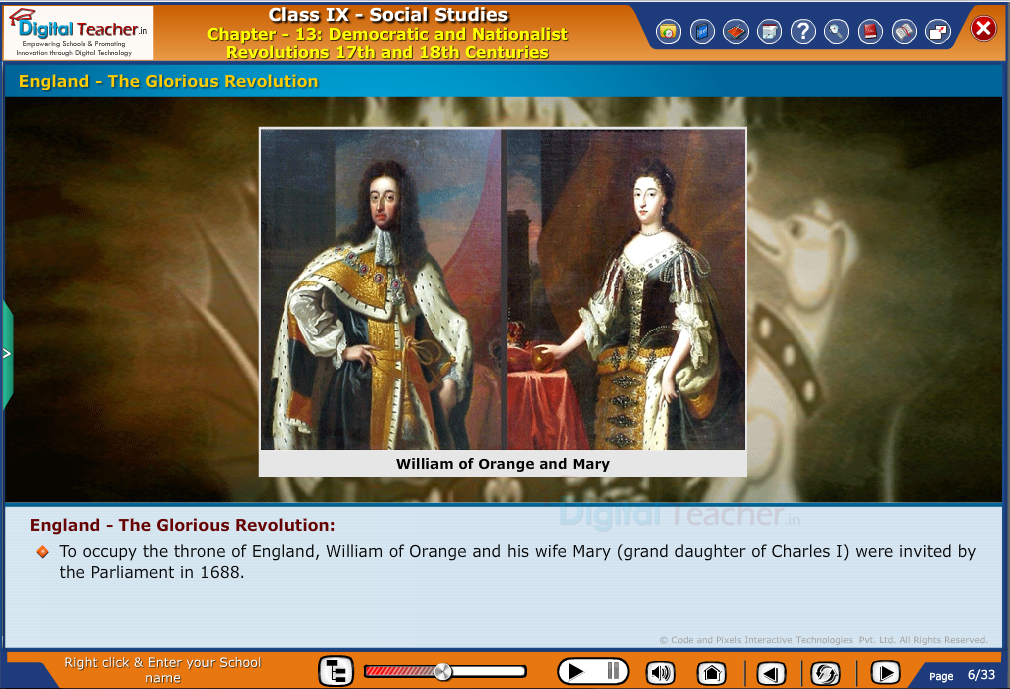 Smart class - social studies on glorious revolution in England and occupying the throne by william of orange
