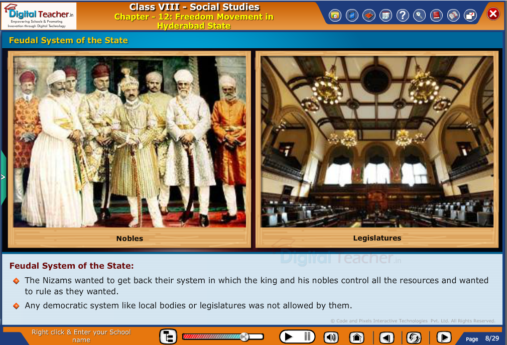 Smart class - social studies on freedom movement in hyderabad state and the feudal system by the nizams