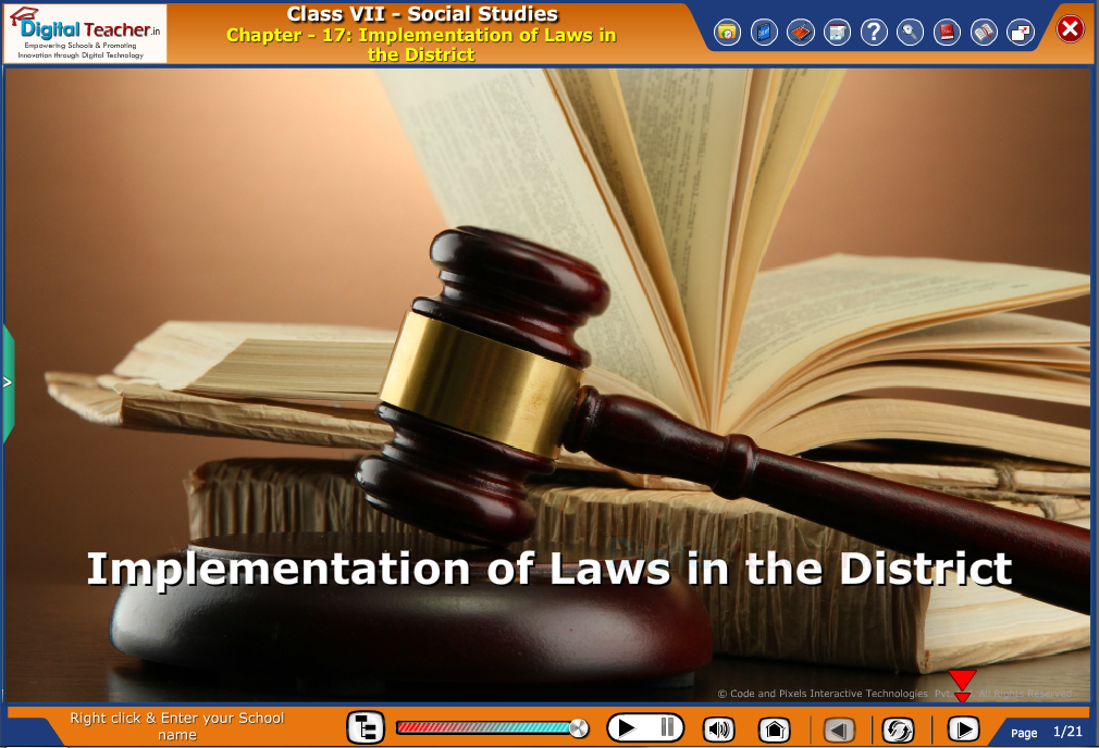 Smart class - social infographic on social studies about implementation of laws in the district