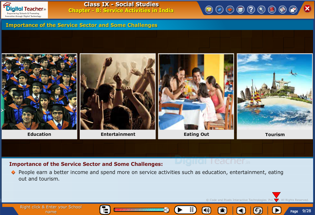 Smart class - social studies on importance of service sector activities in India and some challenges in it