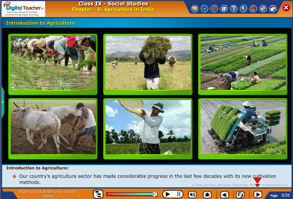 Smart class - social studies on Introduction to Agriculture in India and its advanced methods