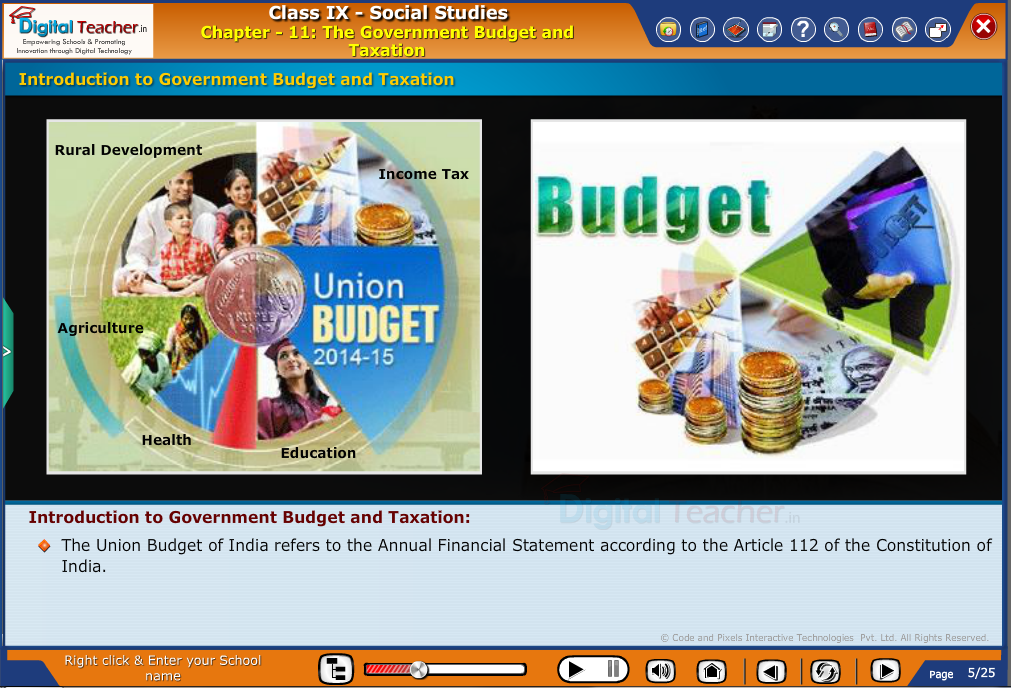 Smart class - social studies on Introduction to Union Budget and Taxation and its features