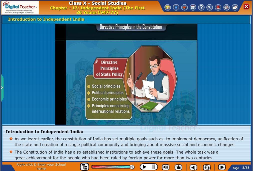Smart class - social studies about the Independent India for the first 30 years