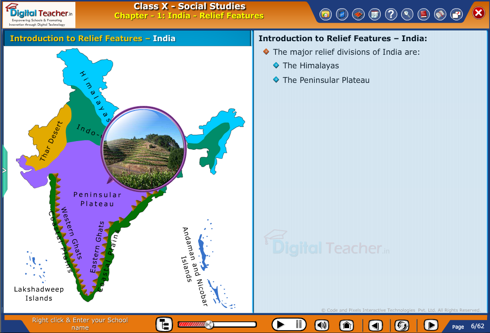 Smart class - social studies on relief features such as The Himalayas and The Peninsular Plateau