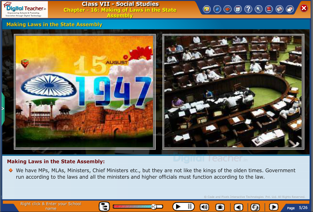 Smart class - social infographic on making of laws in the state assembly by officials