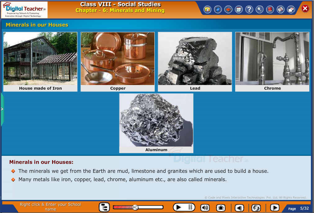 Smart class - social studies on minerals in our houses and their uses