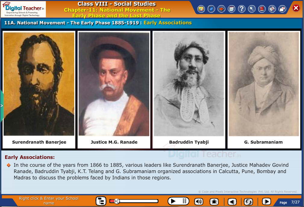 Smart class - social studies on early phase of national freedom movement by various leaders