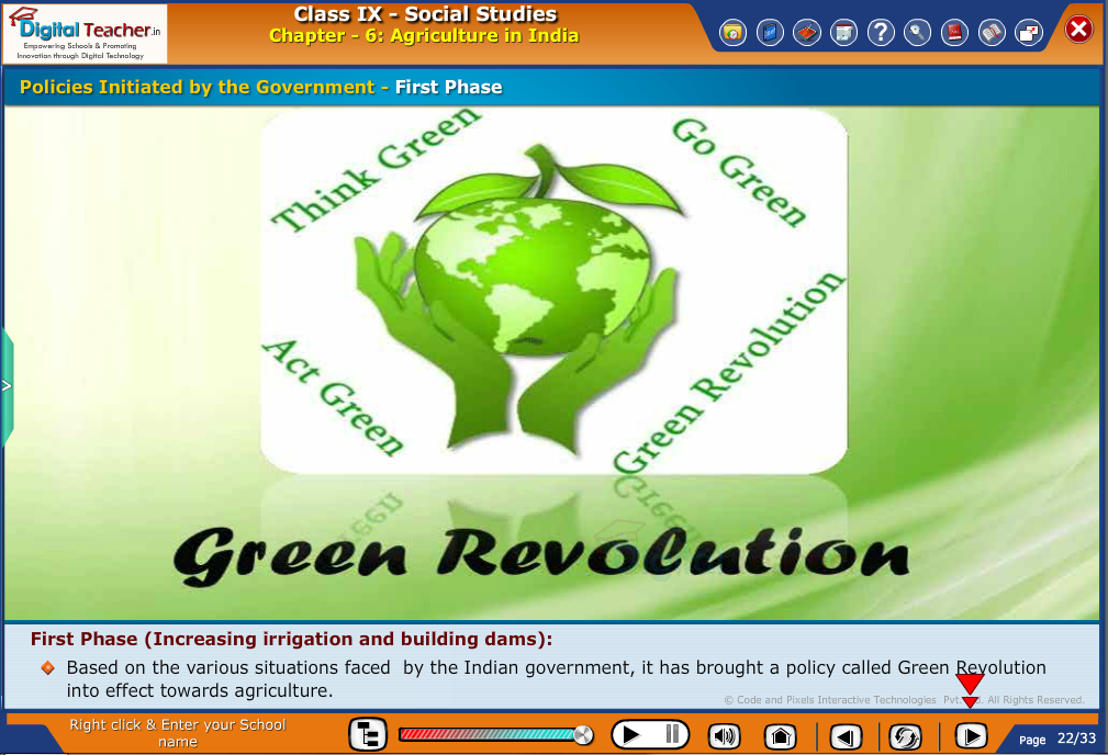 Smart class - social studies on the policies initiated by the government to increase irrigation and defining green revolution