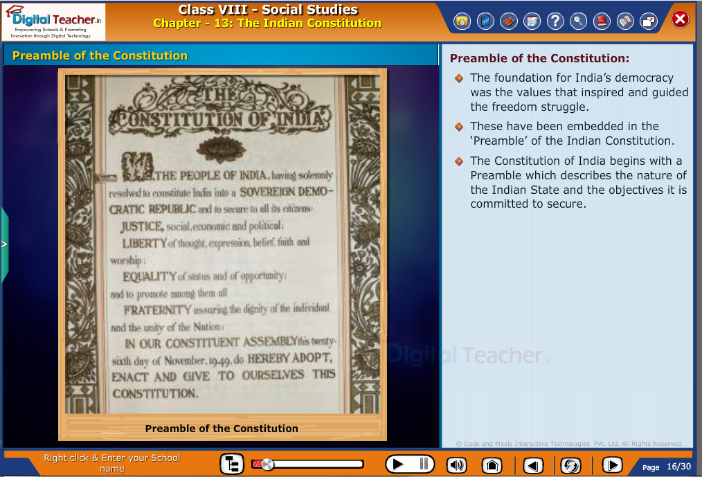 Smart class - social studies on preamble of the constitution