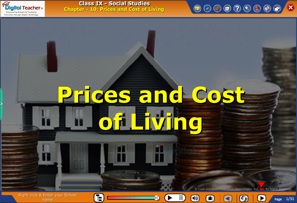Smart class - social studies on various prices and cost of living