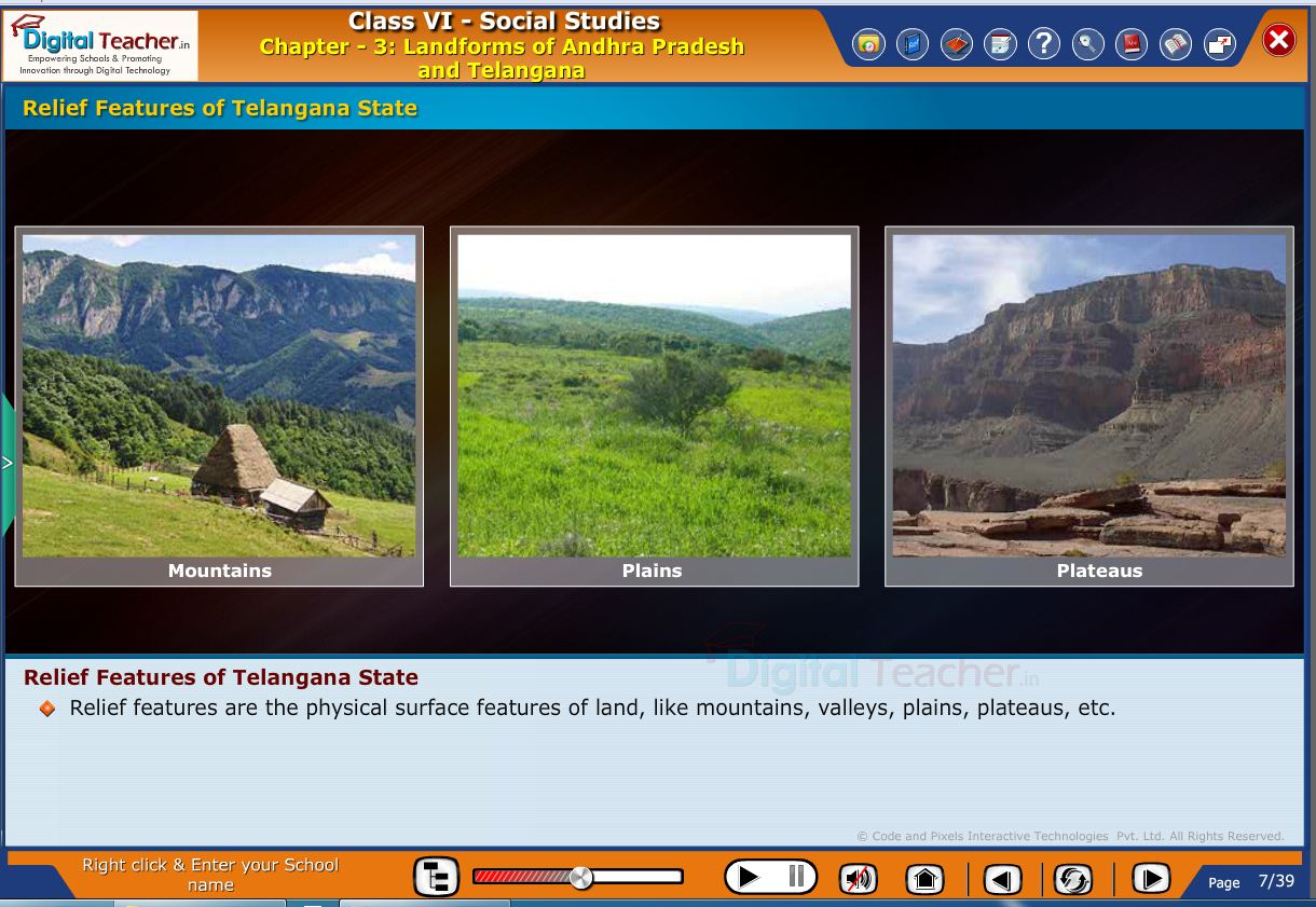 Smart class - social infographic about different landforms of various states and relief features of telangana